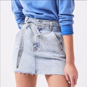 Pacsun A-Line Tie Waist Denim Skirt Size 26 Frayed
